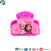 FJ brand Yiwu wholesale cute simple design plastic mix color hair claw clip for kids