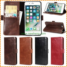 double fold sewing flip mobile cover leather case for iphone 7