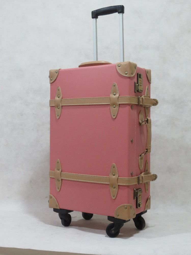 best sale pu material vintage luggage with 4 spinner wheels