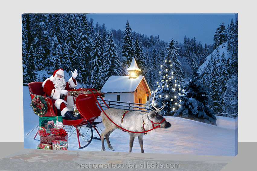 Best price large lighted christmas canvas ,Santa Claus painting cavas roll