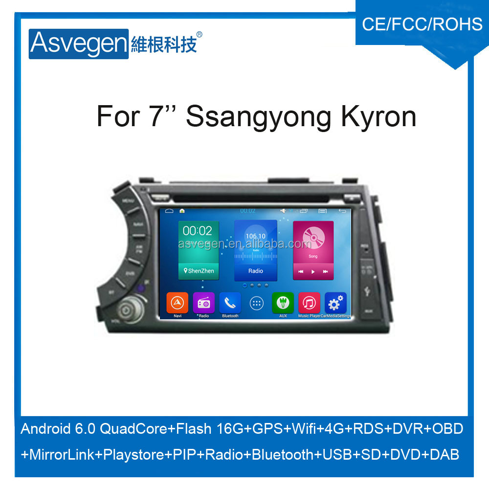 Wholesale Android Car DVD Player for 7'' Ssangyong Kyron/Actyon Navigation Car DVD GPS Support Playstore,4G,WIFI