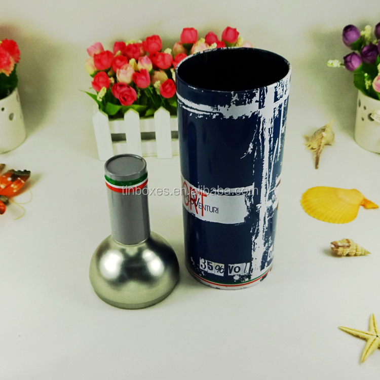 Empty metal packing fancy gift round wine bottle tin box