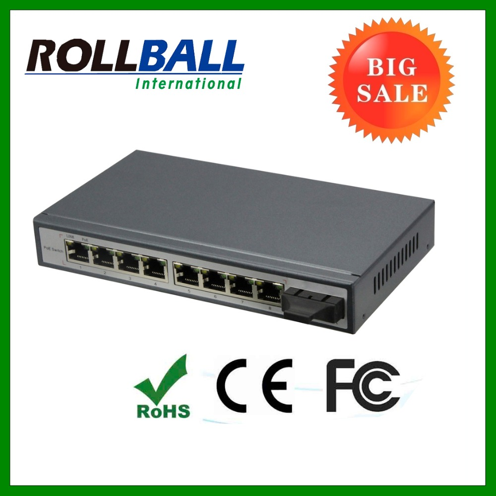 Good quality megabit ethernet 9 port poe switch with 4 port POE 1 fiber port 15.4w