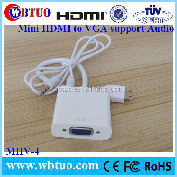 High quality Mini HDMI to vga rca with audio