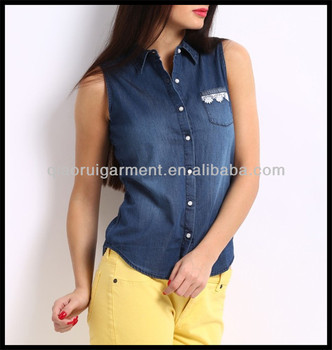 Summer Hot Sale Sleeveless Washed Denim Shirts For Women