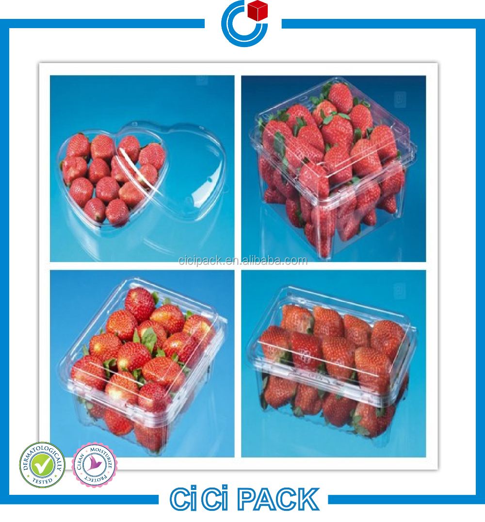 2016 clear plastic clamshell fruit packaging containers wholesale in Guangzhou