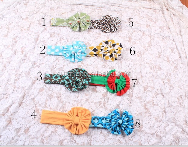 Hot sale newborn kids cotton flower headbands low moq kids headbands in stock various kinds of cheap baby handmake headbands