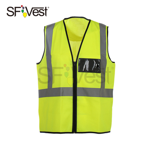 100% Polyester Hi Vis Fluorescent Yellow Vest Reflective Tape Class 2 Work Safety Vest With Zipper Closure