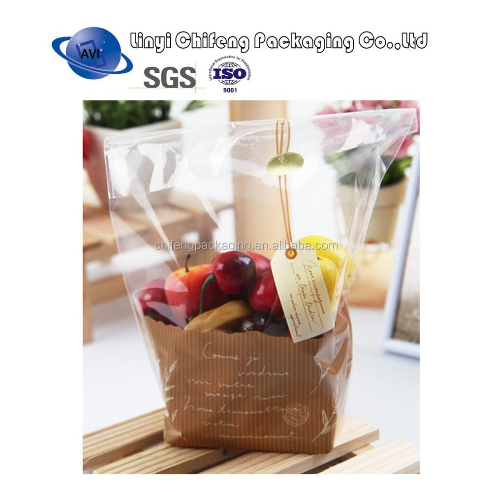 Self adhesive OPP food bag snack food packaging bag/bread bag/fruit packaging bag for gift and food packaging