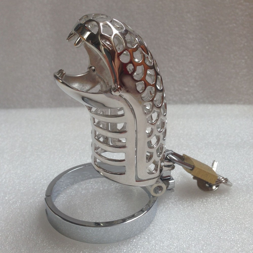 New Sex Products Snake Mouth Stainless Steel Chastity Cage Sex Toys for Men