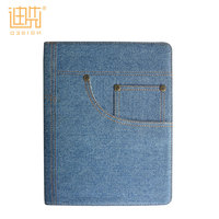 Custom pu + denim flip stand credit card holder child proof tablet case cover for ipad