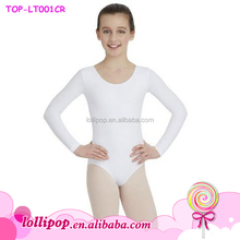 New style children artistic gymnastics leotards spandex long sleeve white ballet dance gymnastic leotard