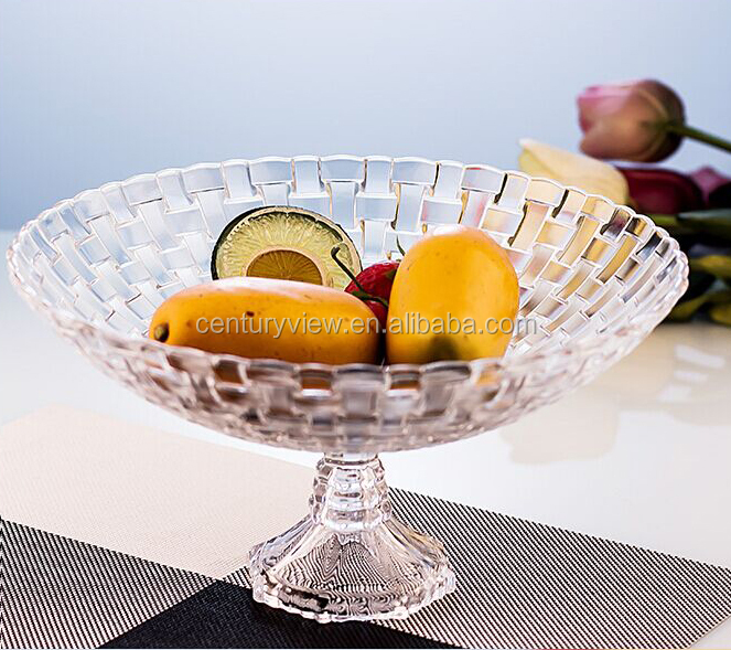 Clear Red Glass Fruit Bowl With Stand Footed Glass Bowl