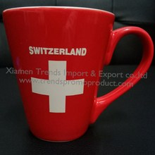 Red Switzerland national day swiss cross promotional coffee ceramic mug
