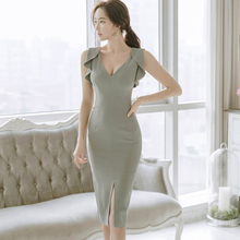Sexy V-neck Ruffles Bandage Pencil Dress Korean