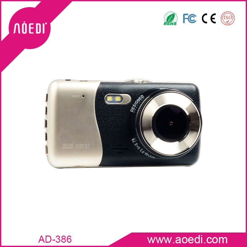 Dual camera recorder car rearview mirror motion detection real time recording