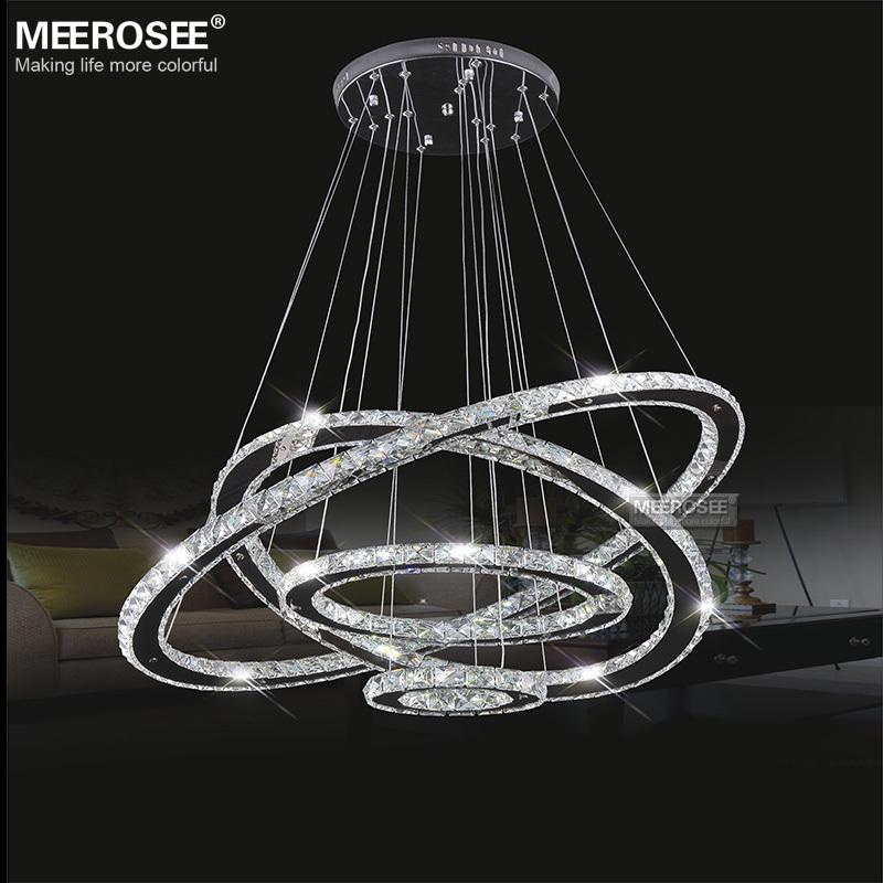 meerosee led crystal chandelier light diamond ring pendant. Black Bedroom Furniture Sets. Home Design Ideas