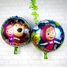 Masha Bear Round Shaped Helium balloons Kids aluminum Martha & bear balloons series children's toys party baloes globos