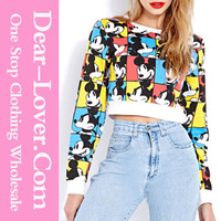 women's clothing Long Sleeves 3D Print Cartoon Mouse women sweatshirt