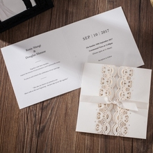 Luxury design hollow laser cutting wedding cards invitation models