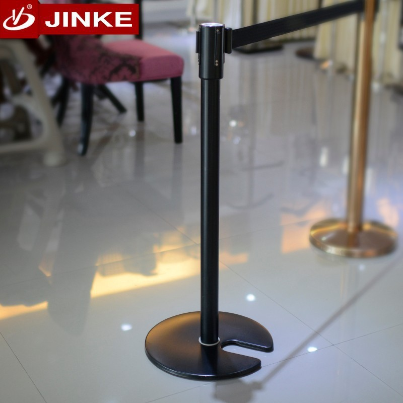 Tow Sides Custom Printing Metal Retractable Belt Queue Barrier Pole Stand With Stackable Base