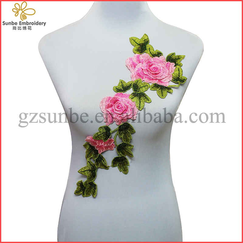 3D Pink Peony Lace Embroidery Patches Lace Venise Motif Trim Sew On Applique Sewing Accessories for Clothes can be customized