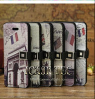 LUXURY RETRO EIFFEL TOWER PU LEATHER WALLET CASE COVER WITH HAND STRAP FOR APPLE IPHONE 5C