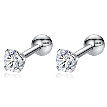 Real 925 Sterling Silver Earrings Clear Zircon Crystal Round Small Stud Earrings for Women Jewelry Wearing