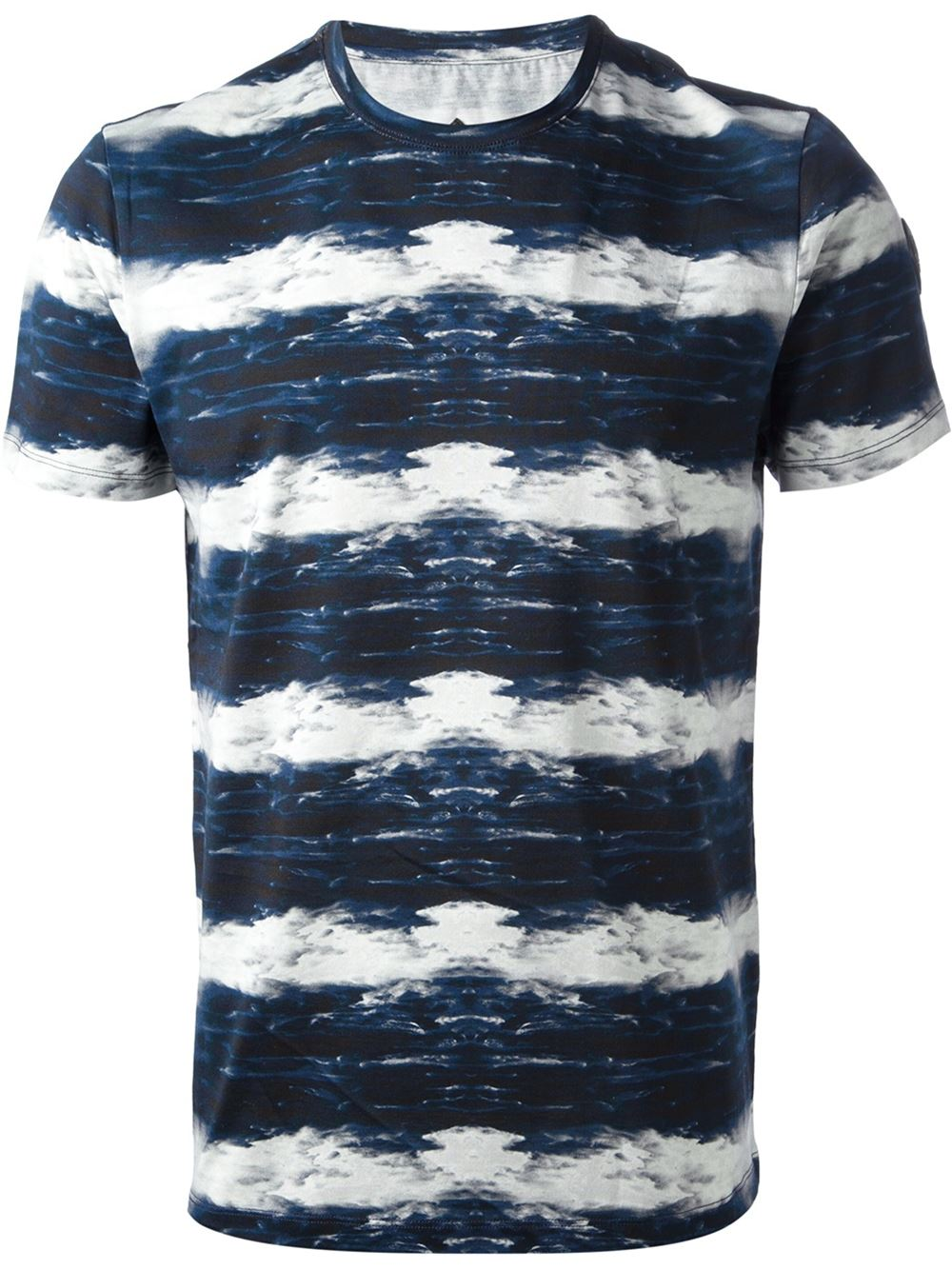 wholesale Blue and white cotton wave print lightweight T-shirt
