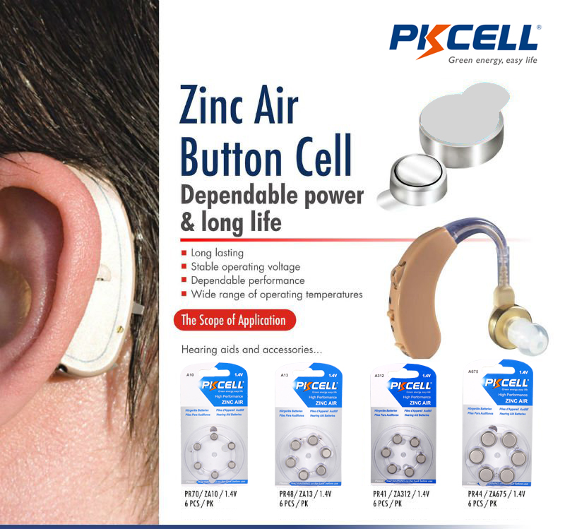 PKCELL 1.4V Hearing aid battery A10 PR70