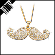 2016 jewelry trends necklace gold metal rhinestone mustache hip hop jewelry men
