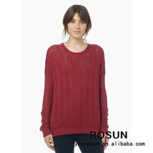 Wine Red Fashion Women 100% Acrylic Sweaters Pullovers