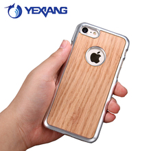 Fancy Electroplate Bamboo Phone Case For Iphone 7 Plus Wooden Hard Cover Case