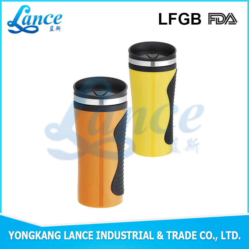 2016 hot sale stainless steel car mug wih rubber outer