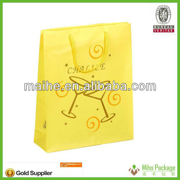 diy craft gift paper bag/gift packaging paper bag/gift bright yellow paper bag