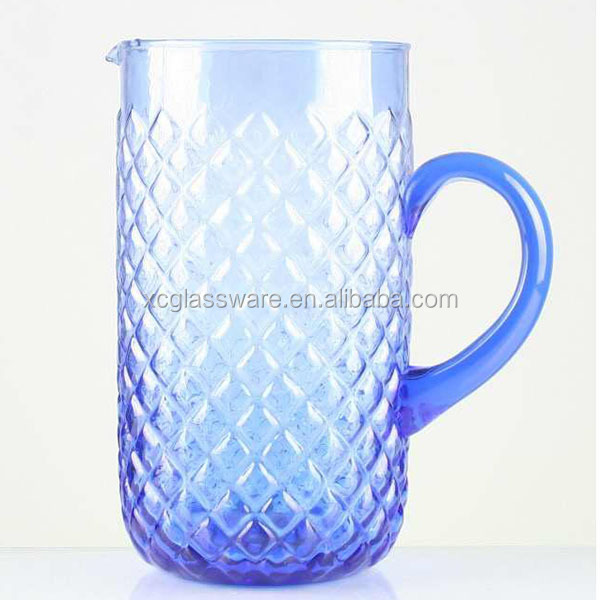 XC new design 1.5L blue colored decor water pitcher glass jars