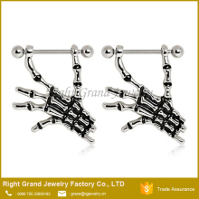 Surgical Steel Enamel Skeleton Hands Nipple Rings Shields Jewelry