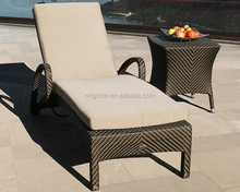 Commercial stackable outdoor sun lounger furniture wicker pool deck chairs