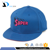 China factory OEM min order high quality new design hip hop 100% acrylic blue 2d custom embroidery snapback hats wholesale