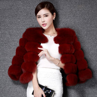 New Winter Real Fox Hair Covered Button Pink Fur Coats For Ladies