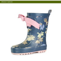 2014 customed new design cheap kid's rubber boots ,rain boots with shoes lace