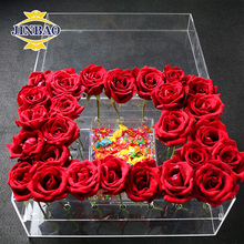 JINBAO wholesale customized square and round waterproof perspex flower package box lucite home decoration acrylic rose box