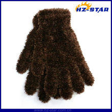 HZS-13174 hot sale New Design Colors Beautiful brown wholesale polyester magic Feather glove