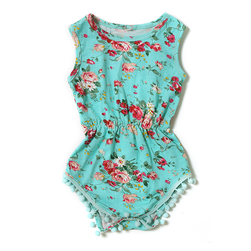 Howell flowery many colors summer baby clothes sleeveless pom pom romper