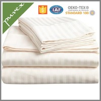Purex linen bed sheets set 3cm stripes white cotton fabric use hotel bed sheet set wholesale