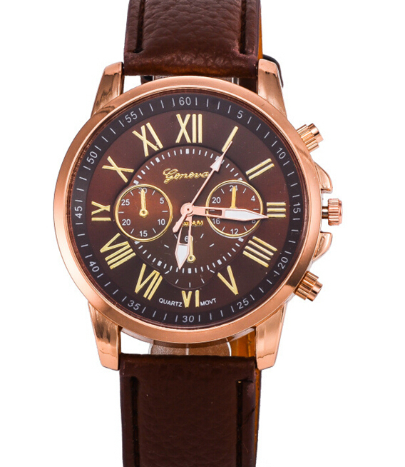 Fsahional Leather Durable Double Literal Three Eyes Geneva Man Leather Auto Wrist Watch