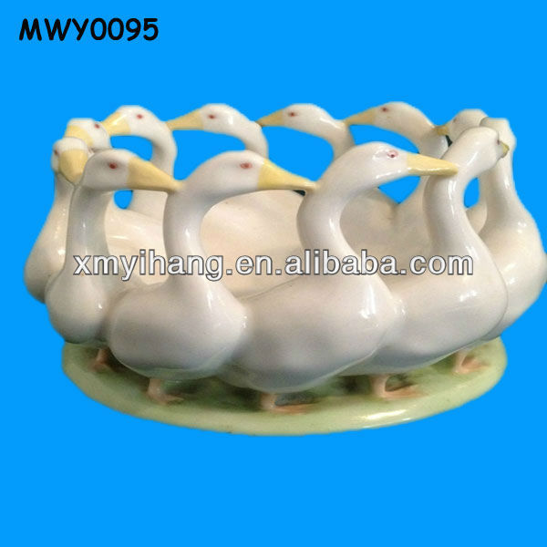 12 White Duck Glazed Ceramic Table Centerpieces