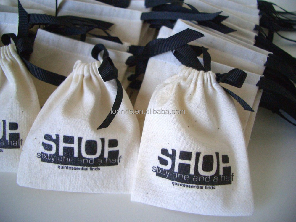 Drawstring cotton small custom printed jewelry pouches with logo