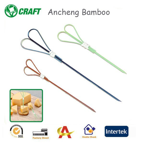 heat resistance colored heart-shaped bamboo skewer for food