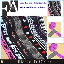 high quality for shoe elastic band/ Costomized flowers or Logo jacquard webbings with elastic for the clothing making
